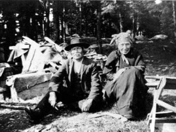 William Prosper, a second generation Mi'kmaq descendant of the Prosper family, sits with his wife, Madeline, outside their wigmam in Nova Scotia sometime before William's death in 1923. Photo: Nova Scotia Museum