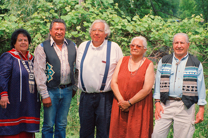 Masie Shenandoah Oneida Nation from Clayton Logan Seneca Nation, John Mohawk Seneca Nation from Audrey Shenandoah Onondaga Nation, Chief Oren Lyons from Onondaga Nation photo by Danny Beaton Mohawk Nation taken at Lehman and Alice Gibson Farm Six Nations Territory