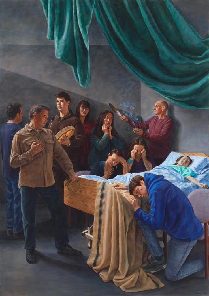 "Death of the Virgin (After Caravaggio). By Kent Monkman, 2016. Acrylic on canvas, 72"" x 51"". Collection of Donald R. Sobey."