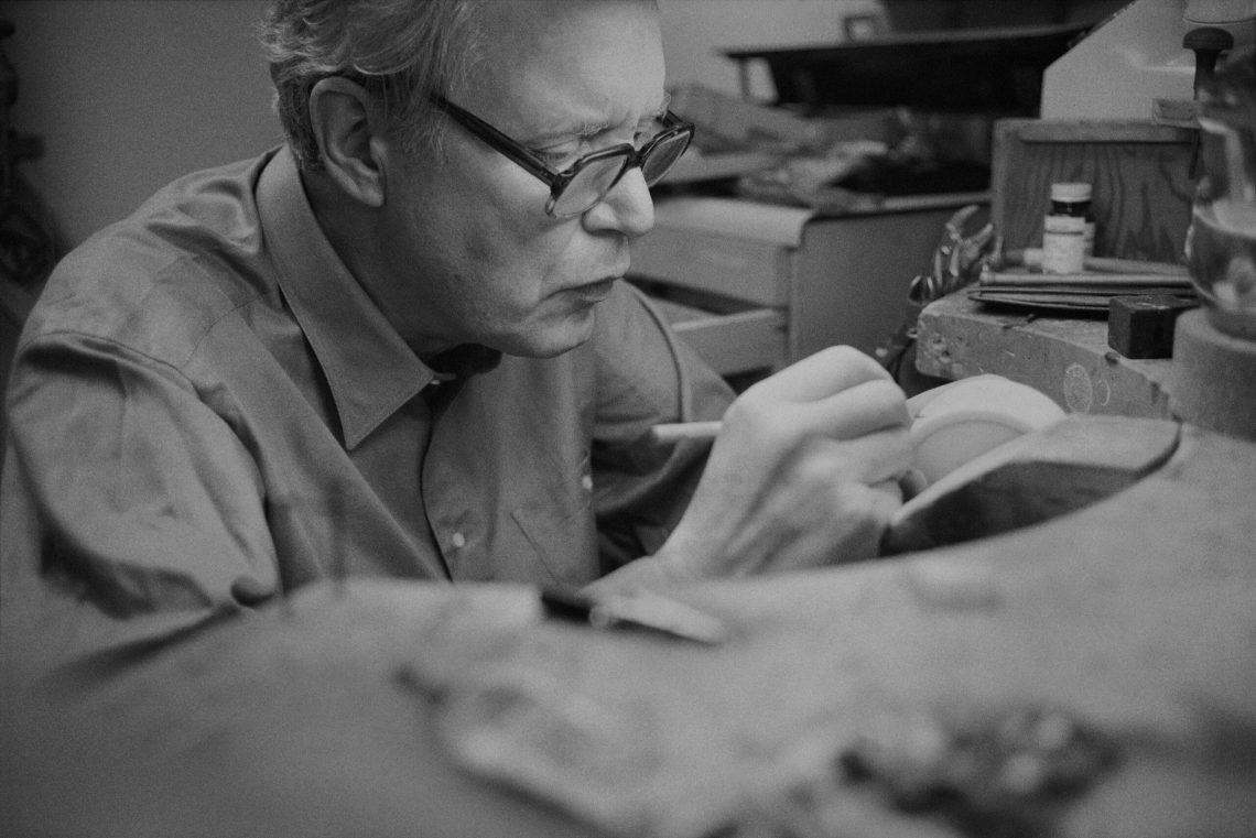 Bill Reid in his studio 1982. Photo by Robert Keziere