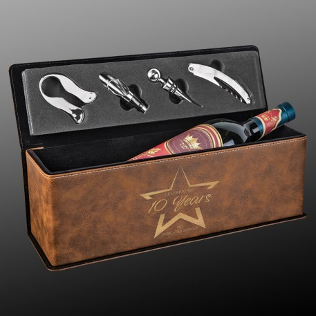 Rustic Leatherette Wine Box with Tools