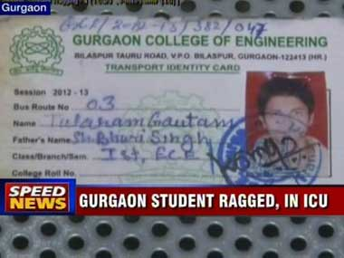 Another victim of ragging. Image courtesy CNN-IBN