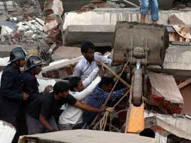 Building collapse in Mumbra. PTI