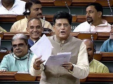 File image of Piyush Goyal. The finance minister, who is handling the ministry in absence of Jaitley, will present the budget at 11 am. PTI