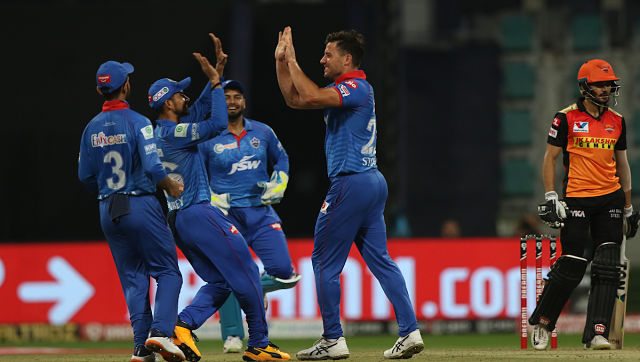 Marcus Stoinis of Delhi Capitals celebrates the wicket of Manish Pandey. Sportzpics