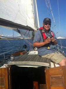 Jim sailing on Pendragon