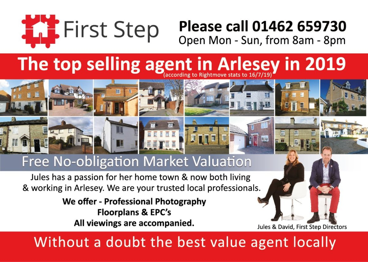 The top selling agent in Arlesey in 2019 (according to Rightmove stats to 16/7/19)