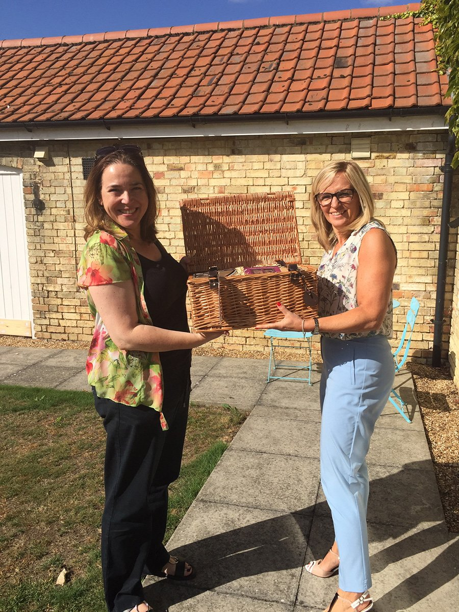 Hamper donation to Arlesey Resource Centre Macmillan Coffee morning