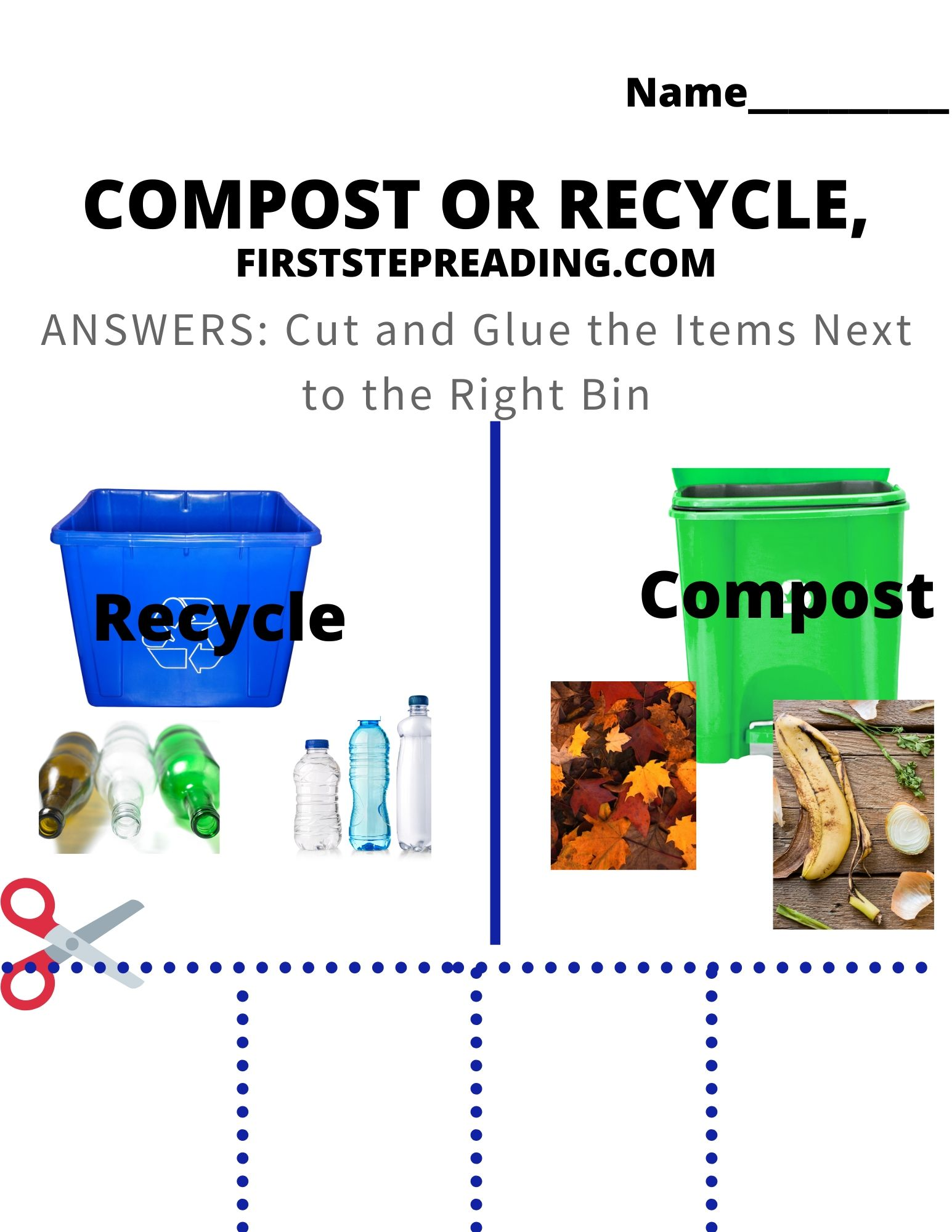 Compost Recycle And Conserve Worksheet