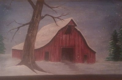 Picture of a Barn Painting on Wood
