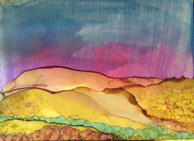 Photo of artwork for the class by East End Art - Alchohol Ink, Dots, Drips & Landscapes, Instructor - Denise Murphy