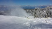 Heavenly's snowmakers were laying down a base on Sunday high above Lake Tahoe. (photo: Heavenly Resort)
