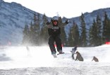 Colorado skiers were jumping for joy as the season opened today at Arapahoe Basin in Dillon, Colo. (photo: Jack Dempsey/CSCUSA)