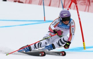 Viktoria Rebensburg (GER) competes in the first run of the Giant Slalom during the Audi FIS Ski Ski World Cup at Killington in central Vermont. Rebensburg logged in the fifth fastest time at 1;00.47. (FTO photo: Martin Griff)