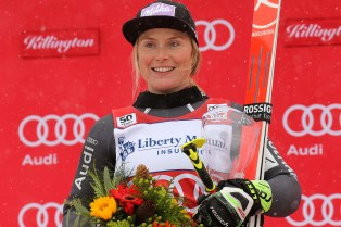 Winner Tessa Worley (FRA) on the podium at the conclusion of the Audi FIS Ski World Cup Giant Slalom at Killington in central Vermont on Saturday, November 26, 2016. (FTO photo: Martin Griff)