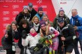 Mikaela Shiffrin (USA) poses with her family including her 95 year-old grandmother Polly Condron after winning the Slalom at the Audi FIS Ski World Cup at Killington in central Vermont on Sunday, November 27, 2016. (FTO photo: Martin Griff)