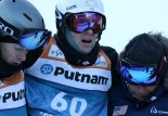 The USA's Bryon Wilson is helped off the course after landing hard at the FIS Putnam Investments Lake Placid Freestyle World Cup moguls competition at Whiteface Mountain in Wilmington, NY on Friday January 13, 2017 (FTO photo: Martin Griff)
