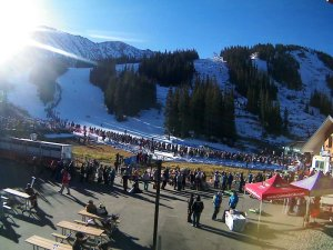 The pre-opening lift and ticket lines. (photo: A-Basin webcam)