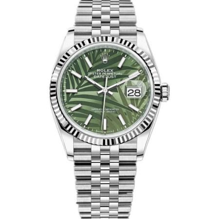 Replica Rolex Datejust 36mm Green Palm Dial Dial 126234 - Rolex Clone Watches