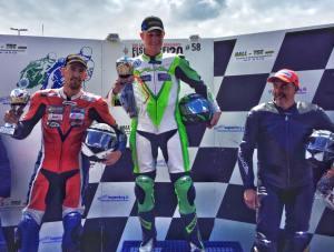 Siegerehrung erstes Rennen Klasse 1: Stefan Merkens, Thilo Günther und Fritz Spenner (von l.n.r.)