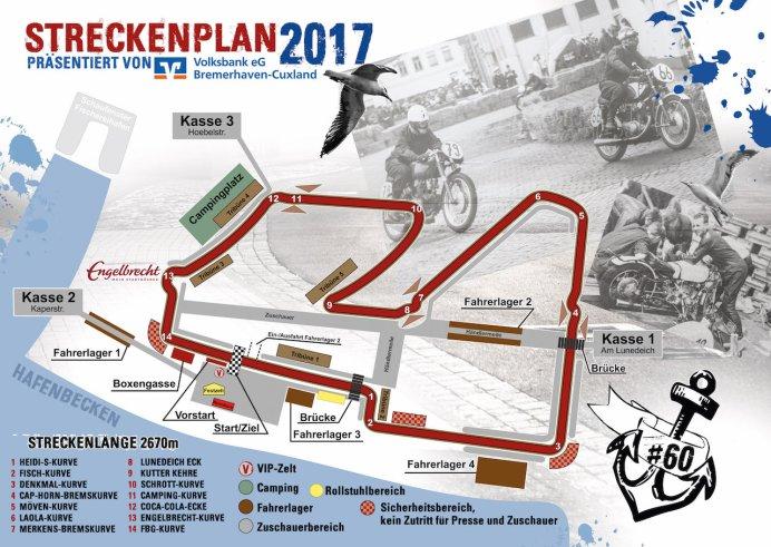 Der Streckenplan zum 60. Internationalen Fischereihafen-Rennen 2017 am 4. und 5. Juni. Gestaltung: Sabrina Adeline Nagel