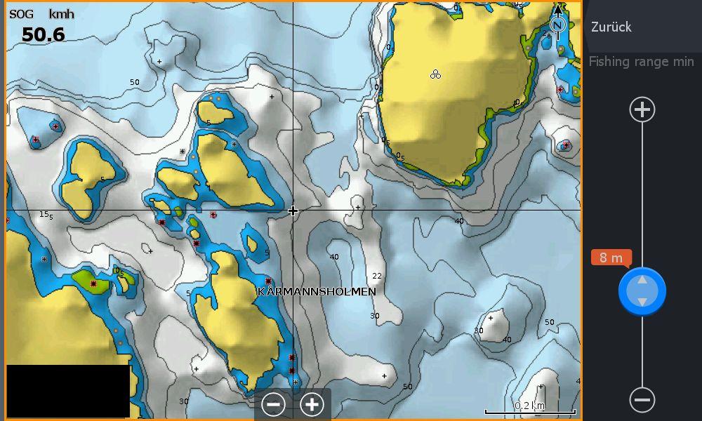 Test Navionics Sonarcharts Live angeln in norwegen Map Fischrange 8-30m