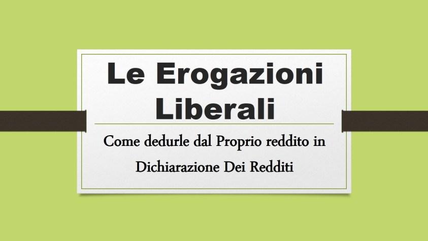 EROGAZIONE LIBERALE E DEDUCIBILITA' DAL REDDITO, FISCOQUOTIDIANO