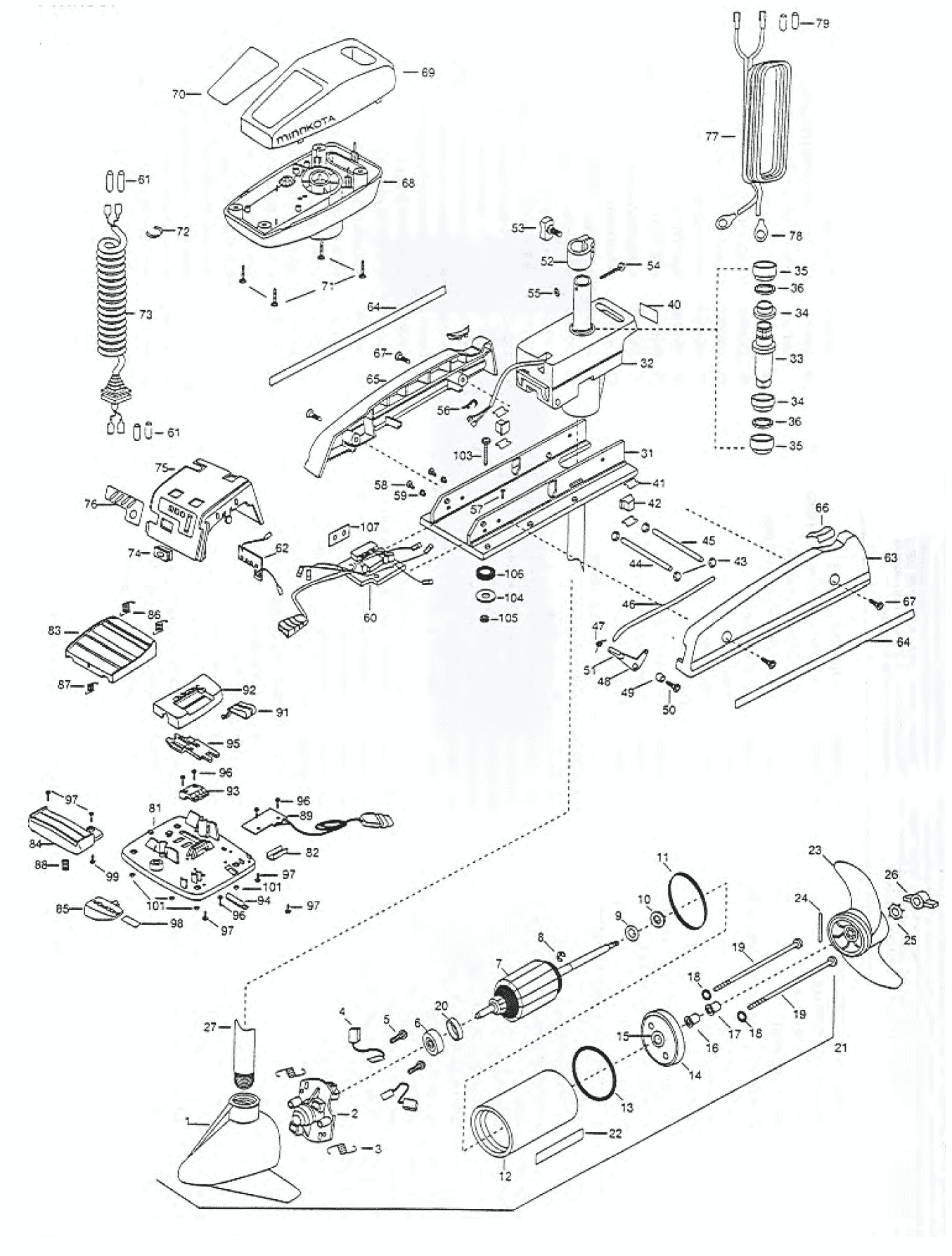 Minn Kota Powerdrive 52 Pro 54 Inch Parts