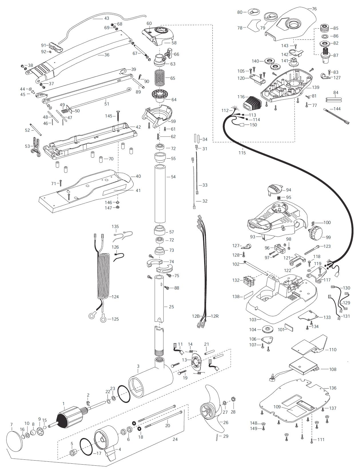 Minn Kota Maxxum 74 52 Inch With Sonar Parts
