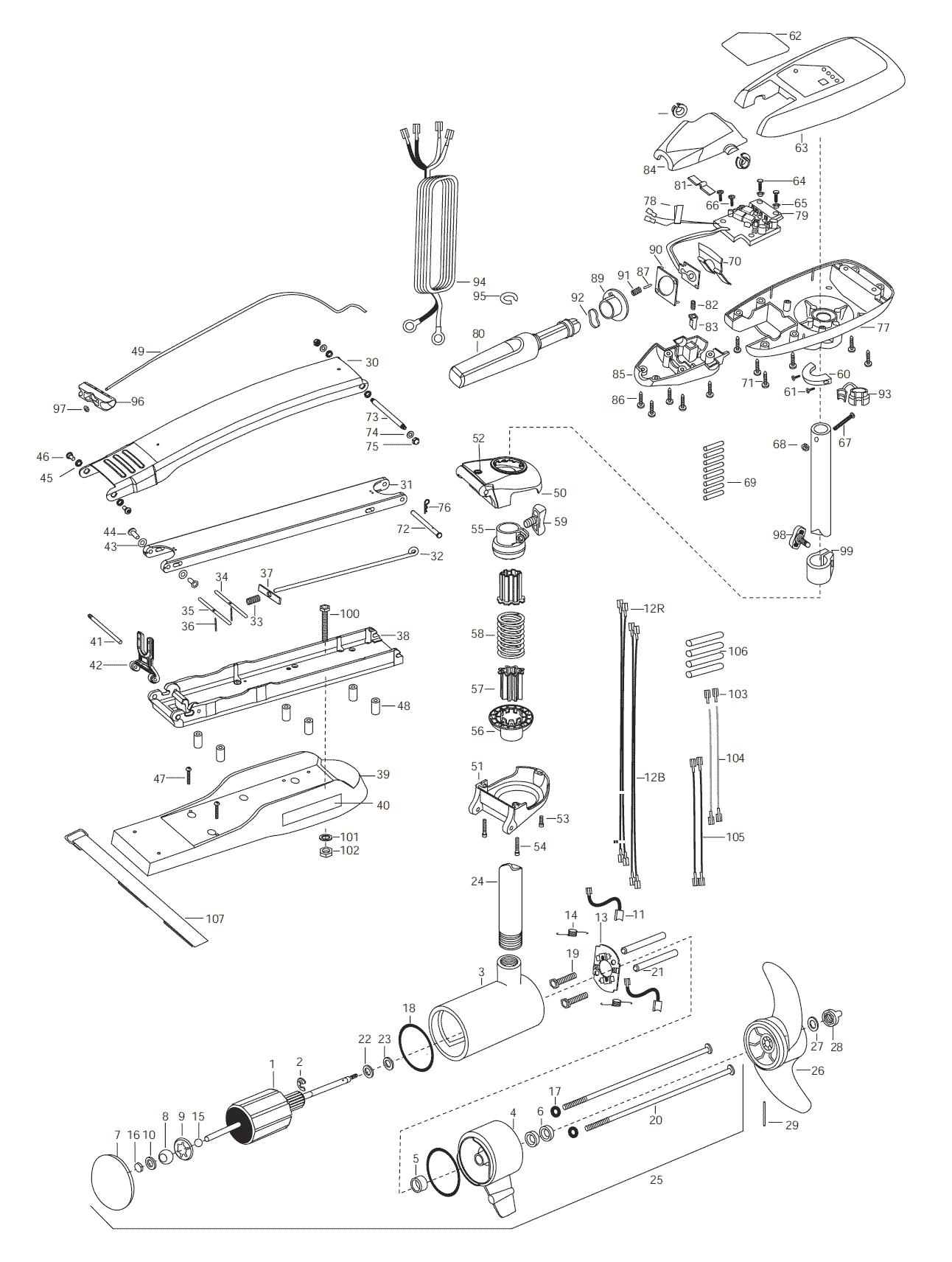 Minn Kota Riptide 74 Bowguard 52 Inch Parts