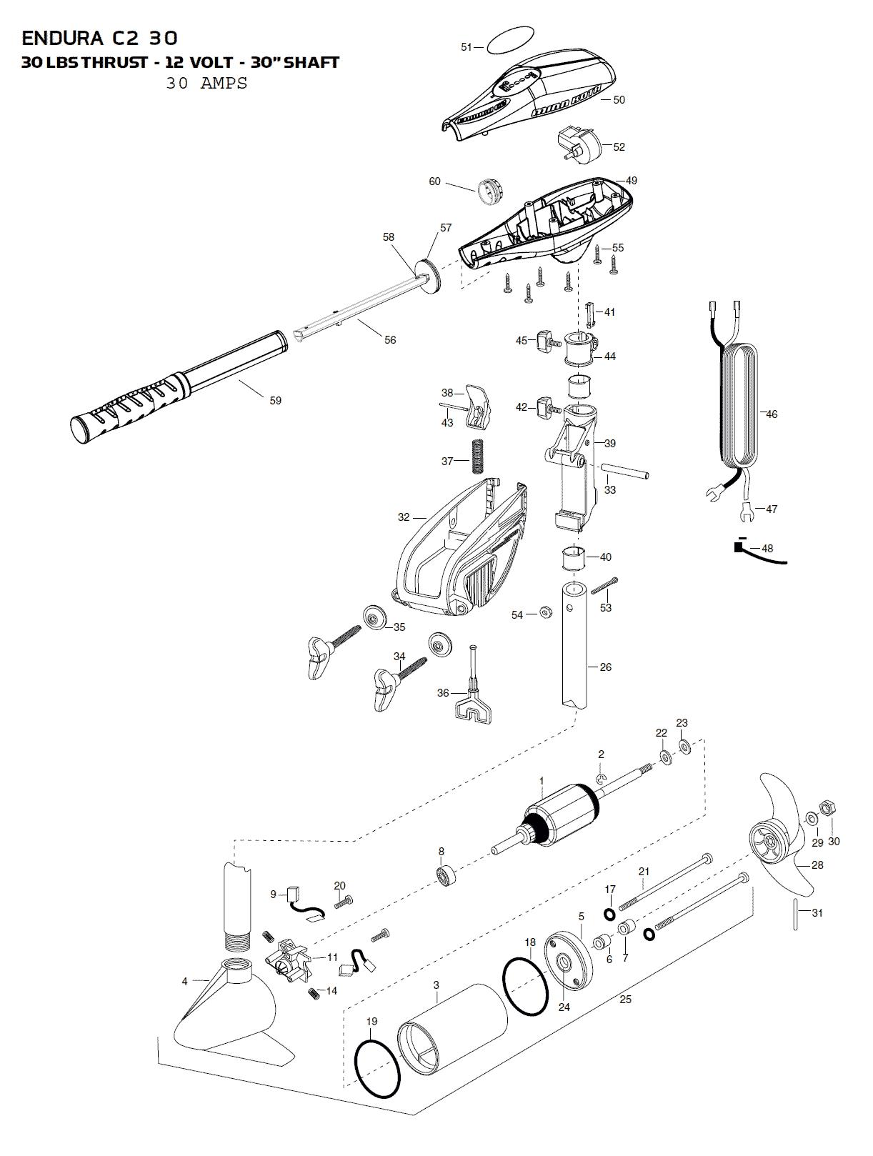 Minn Kota Endura C2 30 Parts
