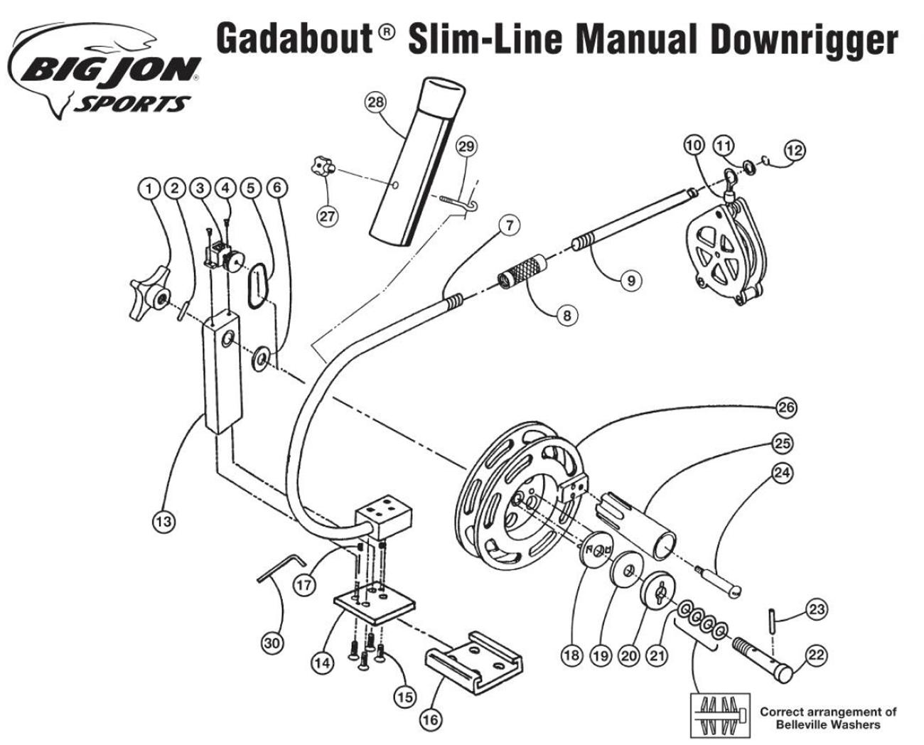 Order Big Jon Gadabout Slim Line Manual Downrigger Parts