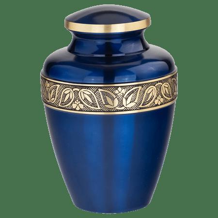Sapphire Blue Brass Urn