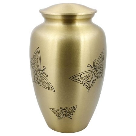 Gold Engraved Butterfly Brass Urn