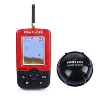 Fish Finder,iGarden Portable Fish Finder Rechargeable & Wireless Sonar Sensor Fishfinder Depth Locator with Fish Size,Water Temperature,Dot Matrix 45m Range