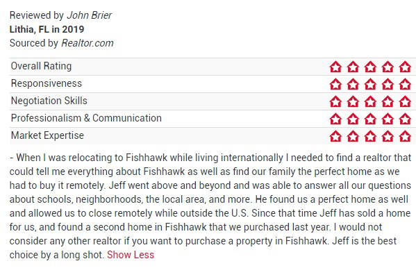 Jeff Gould Realtor.com Testimonial John B For FishHawk Real Estate