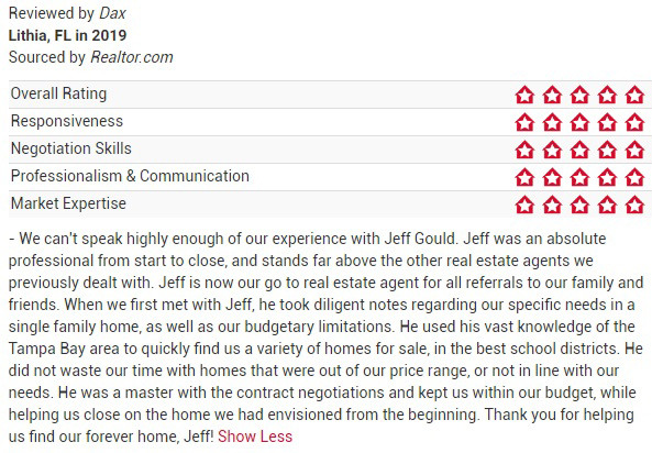 Jeff Gould Realtor.com Testimonial Dax For FishHawk Real Estate