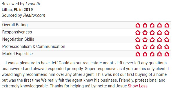 Jeff Gould Realtor.com Testimonial Lynnette For FishHawk Real Estate