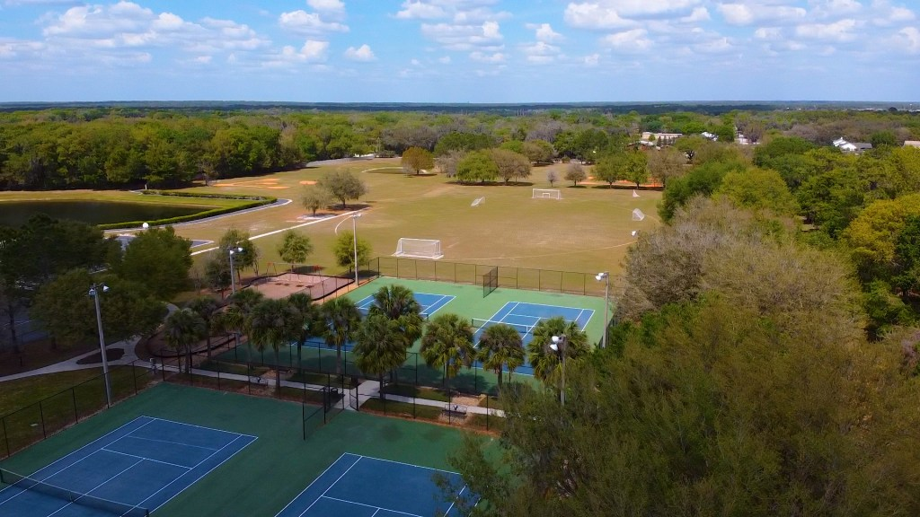 Drone view of the Fish Hawk Trails tennis courts, soccer field, and baseball field