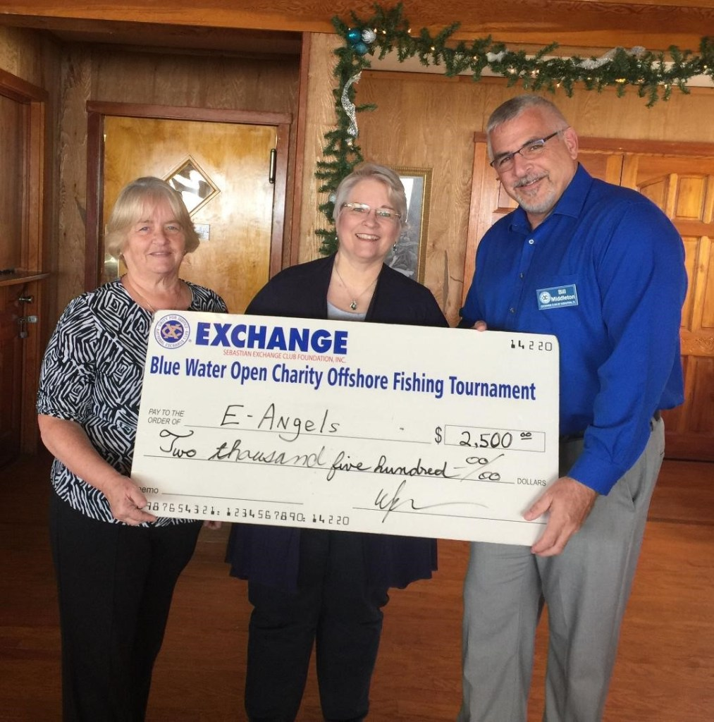 Chritable giving to the community of sebastian, Exchange Club of Sebastian, Sebastian Exchange Club , e-Angels, Chum Bucket