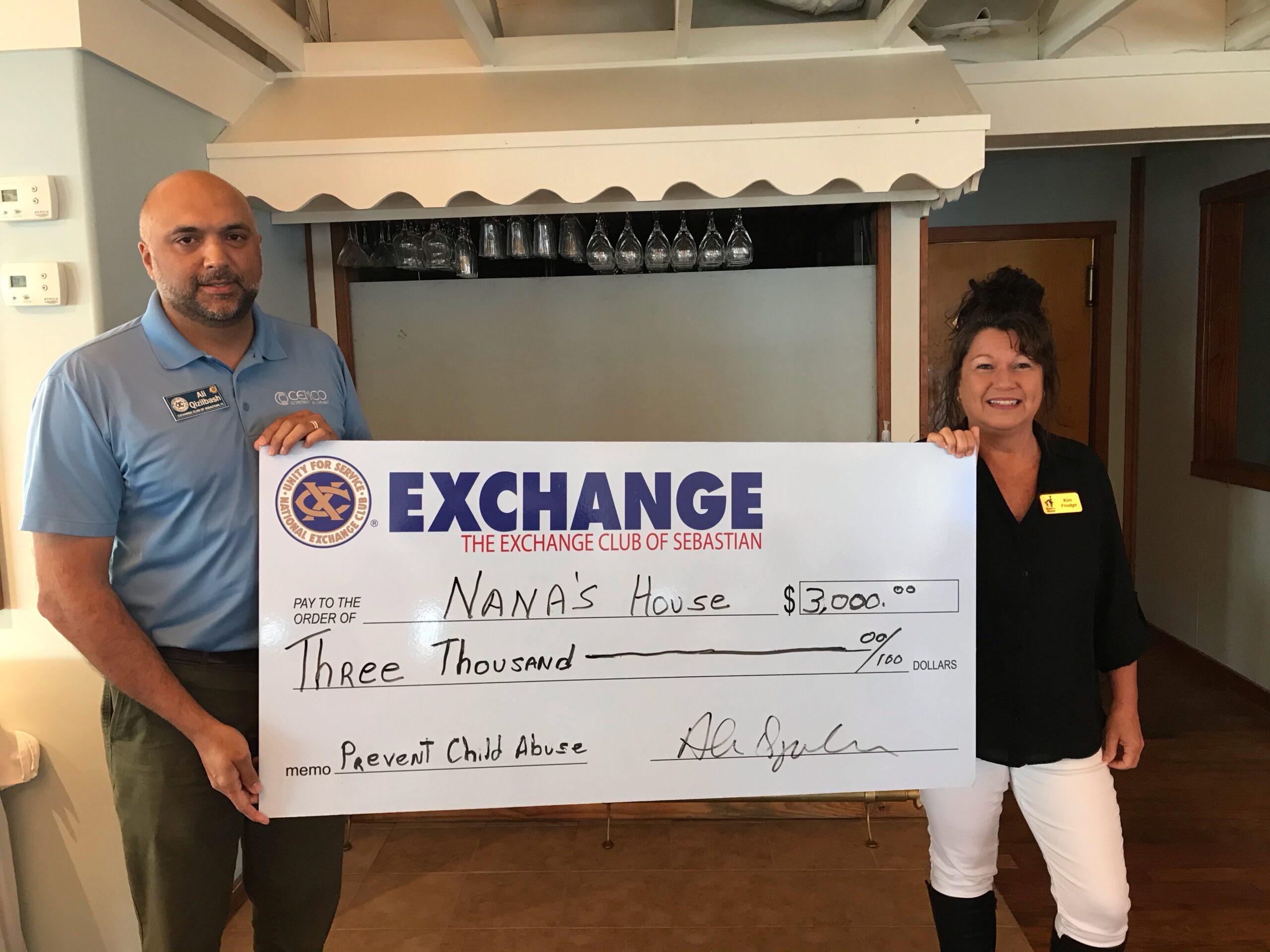 Exchange Club of Sebastian donates to Nana's House