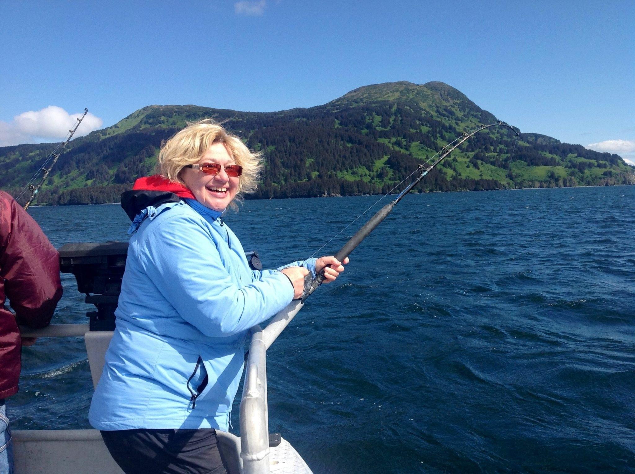 Happy Wife..Happy life..Kodiak Island Fishing at its best! Fish N' Chips Charters