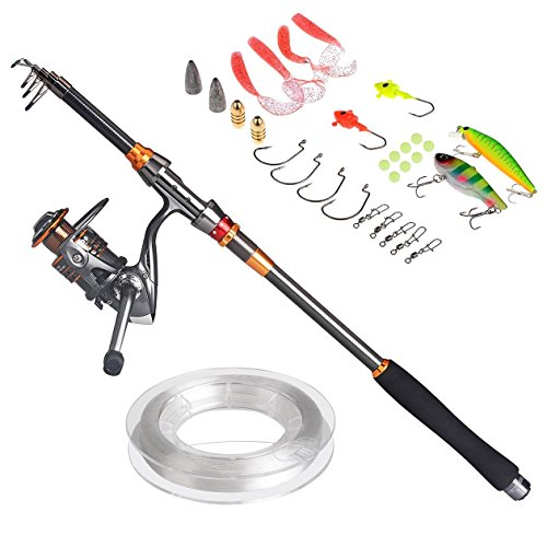 PLUSINNO® Travel Spinning FULL Fishing Rod Combos Carbon Telescopic Fishing Rod Pole with Reel Line Lures Hooks and Accessories Combo Sea Saltwater Freshwater Kit Fishing Rod Kit