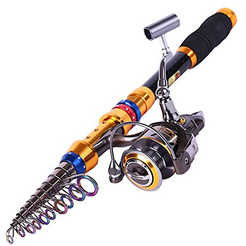 Sougayilang Telescopic Saltwater Freshwater Fishing Rod and Reel Combos Travel Fishing Pole Kit