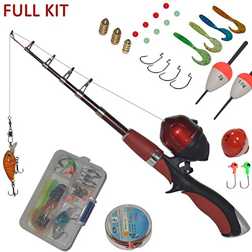 Portable mini fishing rod and reel combo kids fishing pole for Fishing stuff for kids