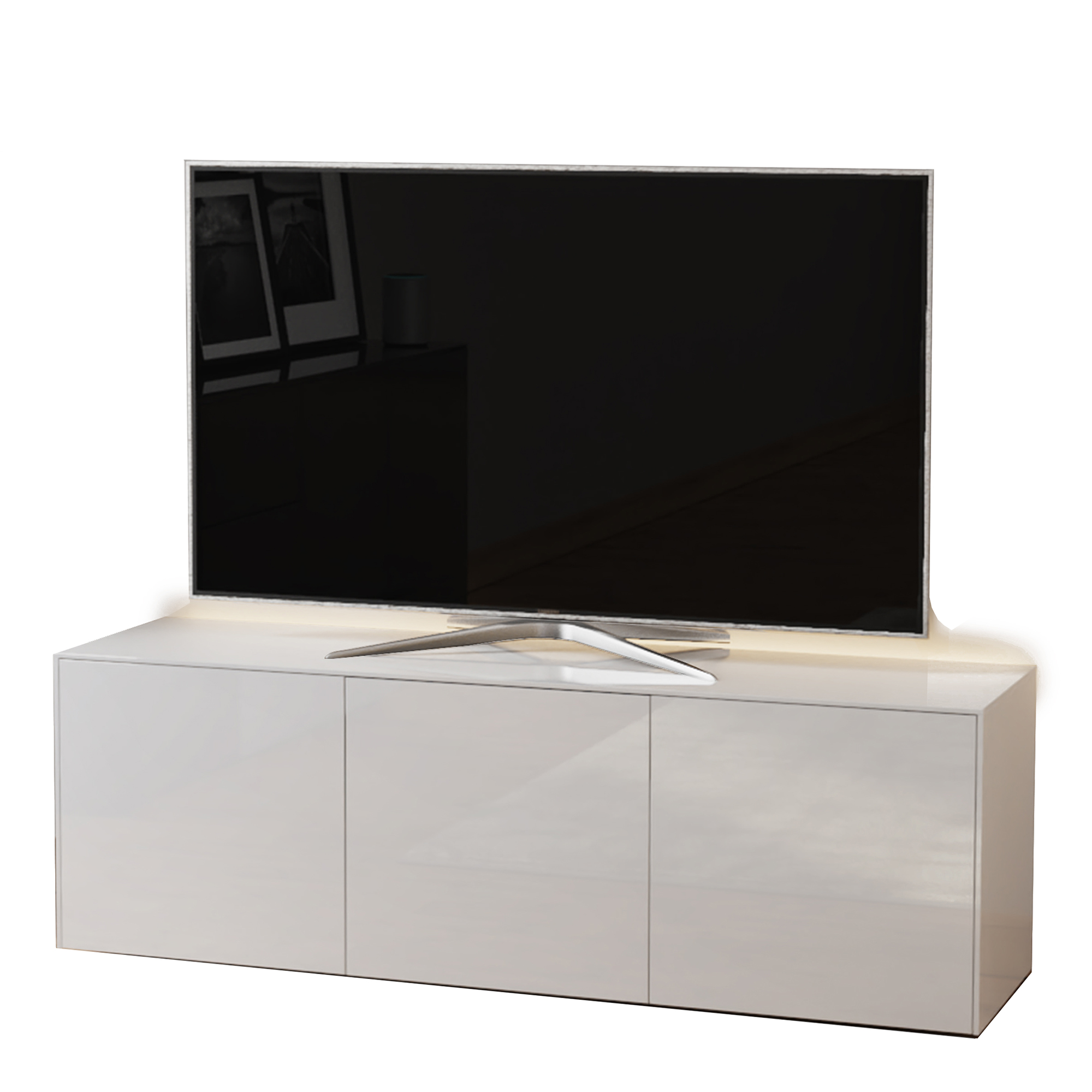 paragon 150cm tv unit in white gloss