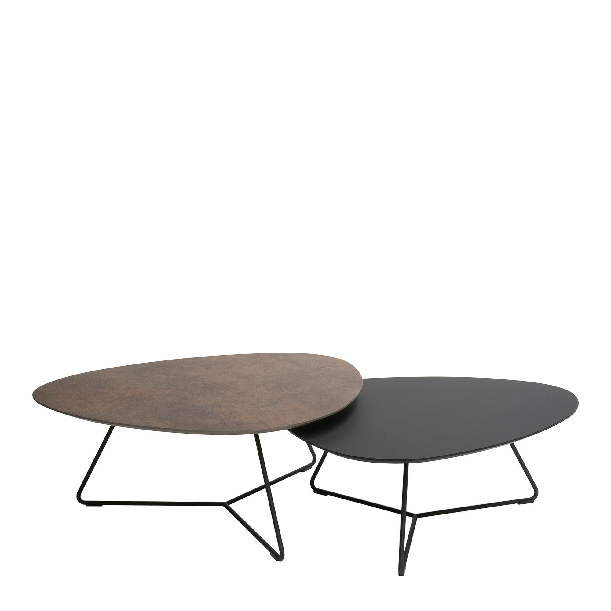 stratus coffee table set inc 95cm table 87cm table black frame
