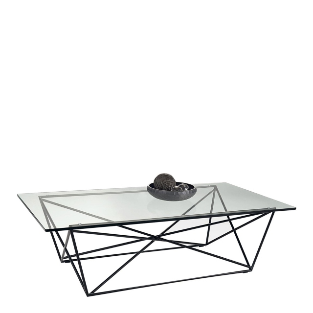 atlas coffee table black glass finish