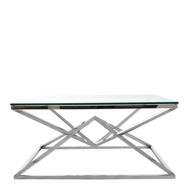 rhombus coffee table with clear glass top stainless steel frame