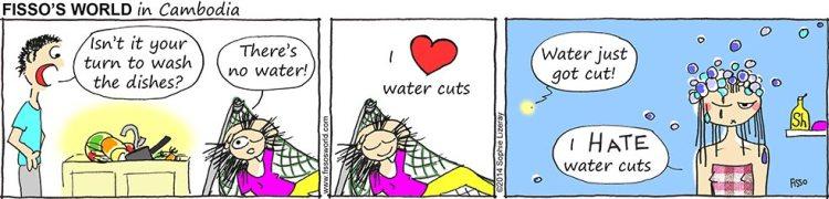 Fissos World in Cambodia cartoons surviving water cuts